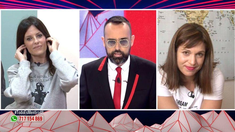 Foto: Cristina Seguí, Risto Mejide y Beatriz Talegón en 'Todo es mentira'. (Mediaset España)