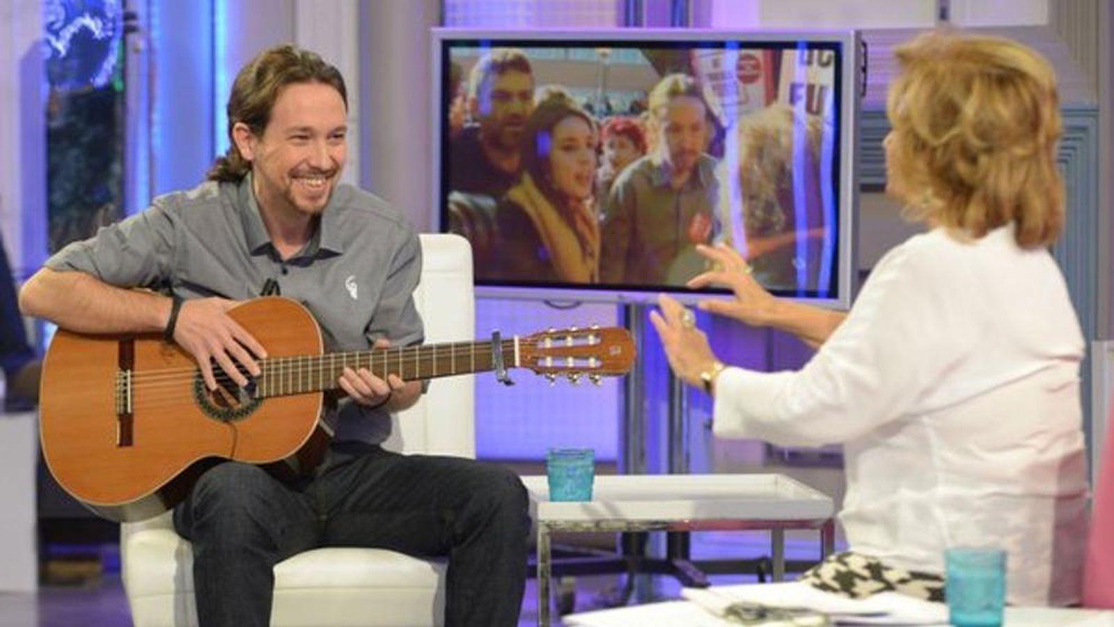 Foto: Pablo Iglesias en '¡Qué tiempo tan feliz!' con María Teresa Campos (Telecinco)