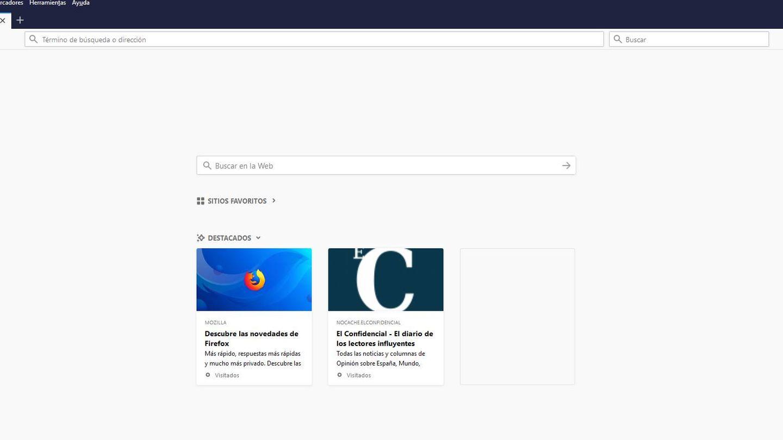 Nueva pestaña en Firefox Quantum