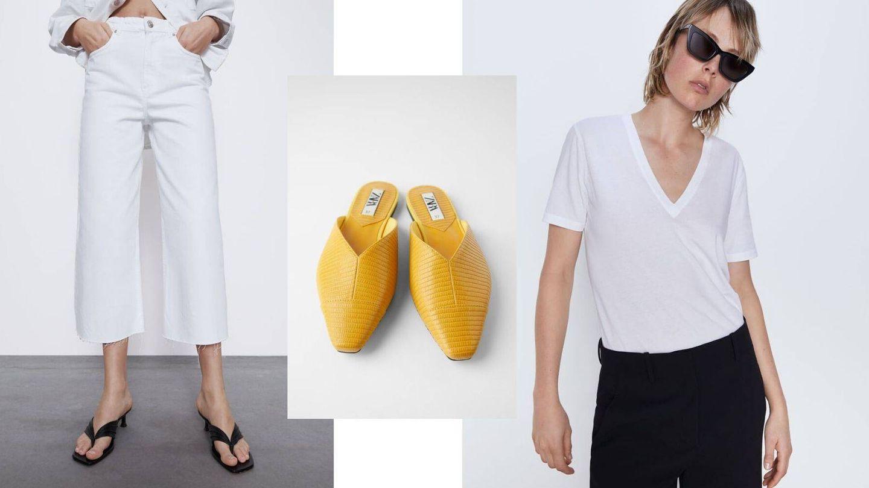Pantalón blanco, mules mostaza y camiseta básica. (Cortesía de Zara)
