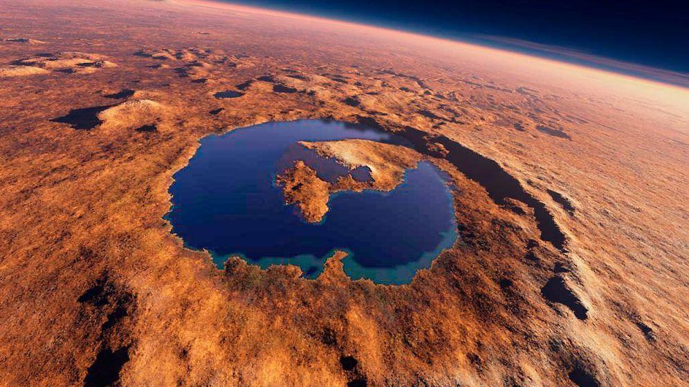 Foto:  Así sería el lago del cráter Gale, en Marte. © KEES VEENENBOS EPV
