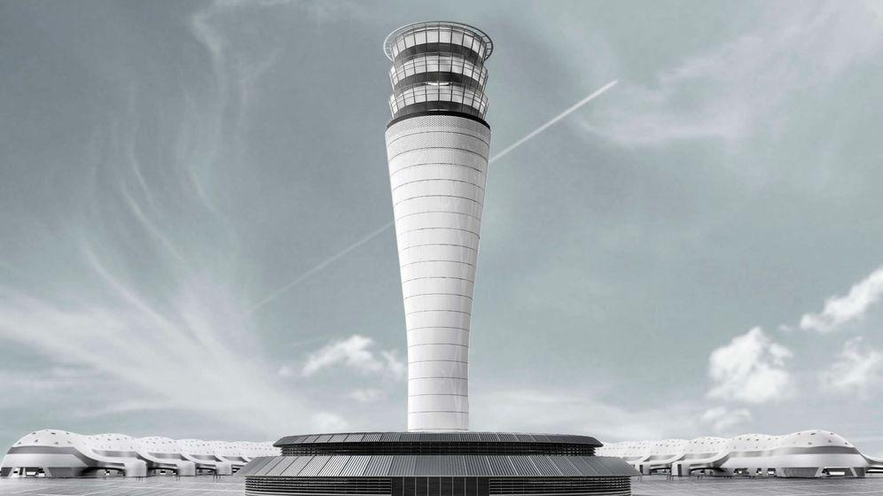 Foto: Maqueta de la Torre de Control de Tráfico Aéreo del Nuevo Aeropuerto Internacional de la Ciudad de México, construido por Aldesa Construcciones, entre otros. (EFE)