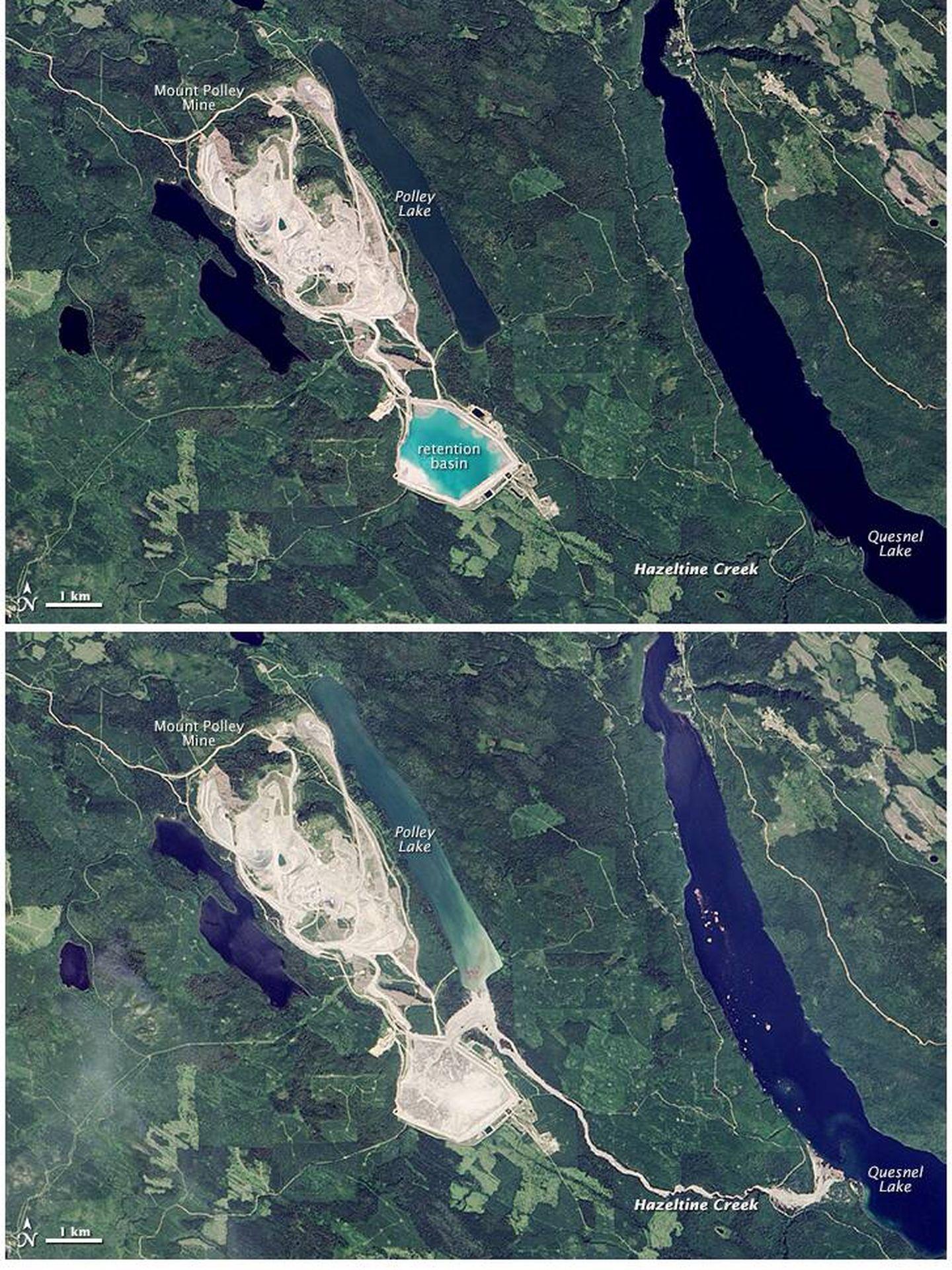El antes y el después de la catástrofe de Mount Polley.