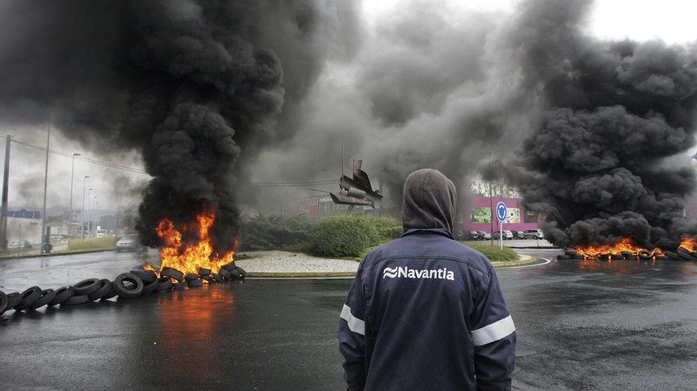 Foto: Movilización de los trabajadores de Navantia, en Ferrol. (Efe)