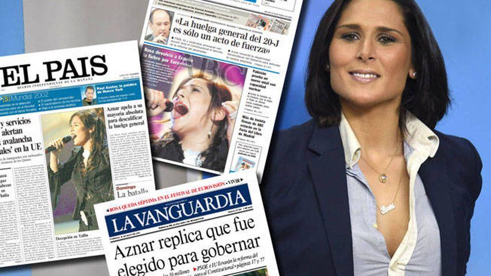 Foto: Rosa López, portada con 'Eurovisión' de los diarios nacionales hace 15 años.