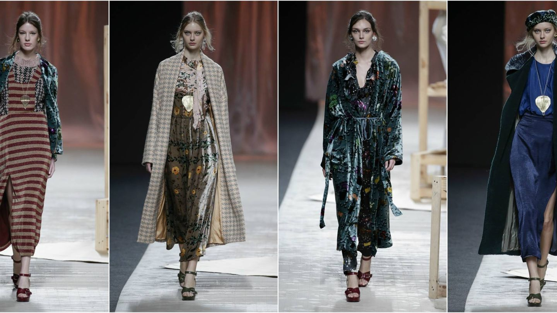 Abrigos, vestidos y chaquetas de terciopelo, uno de los tejidos estrella de la colección de Ailanto. (Gtres)
