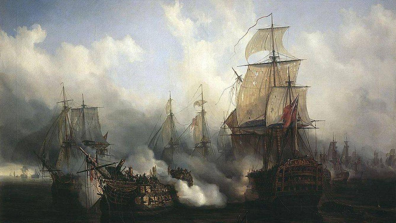 Foto: Óleo sobre la batalla de Trafalgar pintado por Auguste Mayer en 1836.