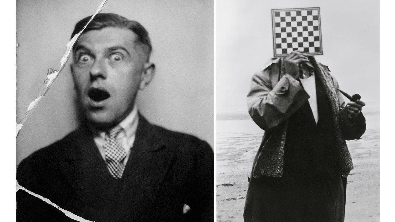 Foto: 'Flirteando', fotomatón de 1929, y autorretrato con tablero de ajedrez.