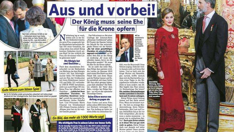 Páginas interiores de 'Neue Post' asegurando el inminente divorcio de Letizia y Felipe.
