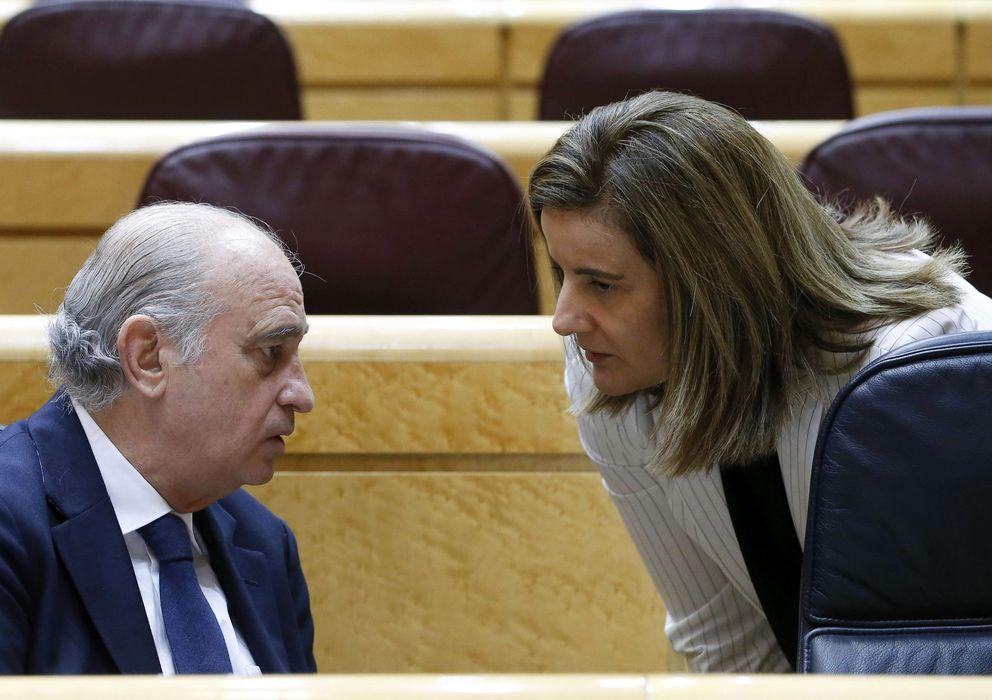 Foto: El ministro del Interior, Jorge Fernández Díaz, y la ministra de Empleo, Fátima Báñez, en el Senado (EFE)