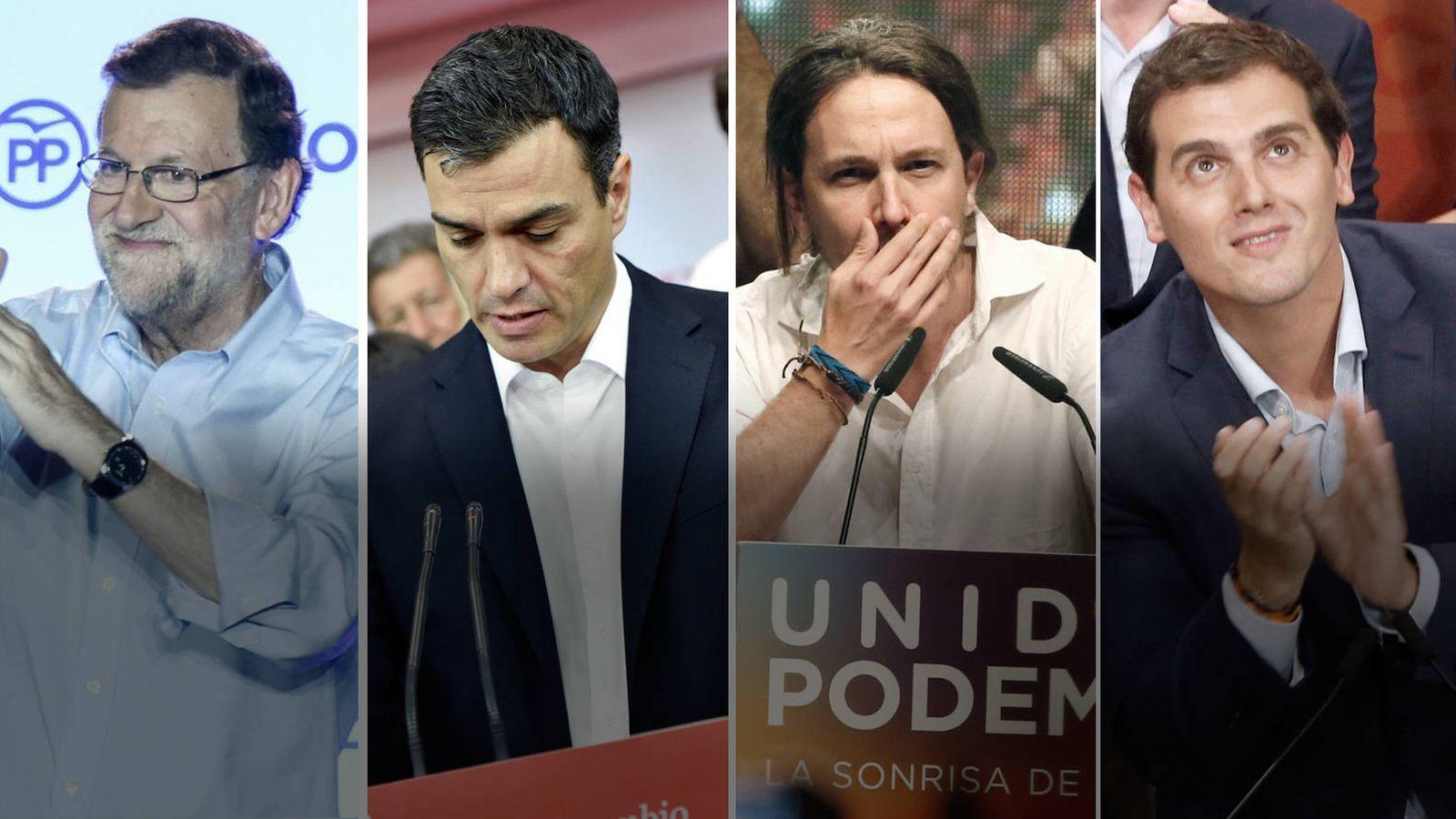 Foto: lecciones Generales 2016: Mariano Rajoy (Partido Popular), Pedro Sánchez (PSOE), Pablo Iglesias (Unidos Podemos) y Albert Rivera (Ciudadanos)