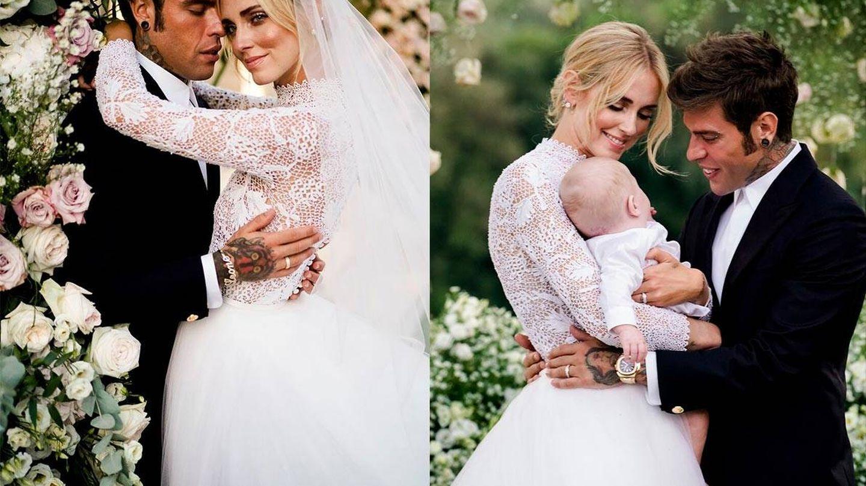 A la izquierda, Chiara Ferragni y Fedez. A la derecha, la pareja posa junto a su hijo Leone. (Imagen: David Bastianoni/Cortesía de Dior)