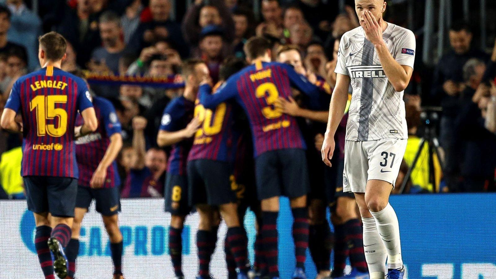 Foto: Los jugadores del FC Barcelona celebran un gol. (EFE)
