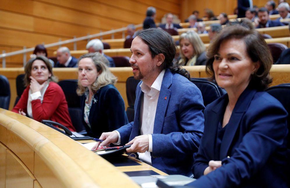Foto: Los vicepresidentes Carmen Calvo, Pablo Iglesias, Nadia Calviño y Teresa Ribera, el pasado 3 de marzo en el Senado. (EFE)