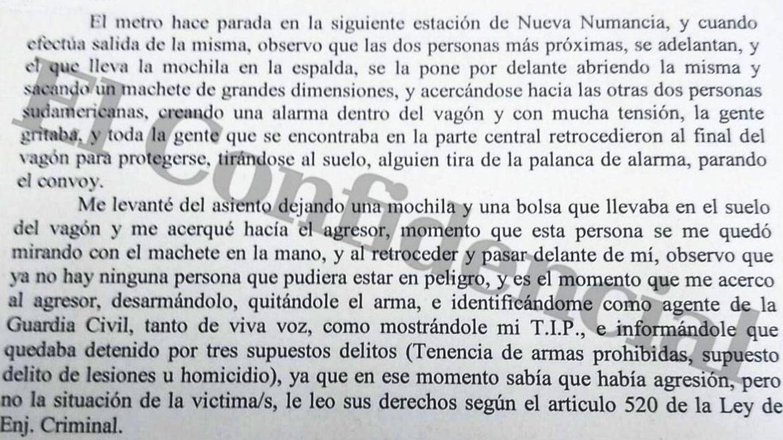 Extracto del informe del guardia civil que protagonizó la detención. (EC)