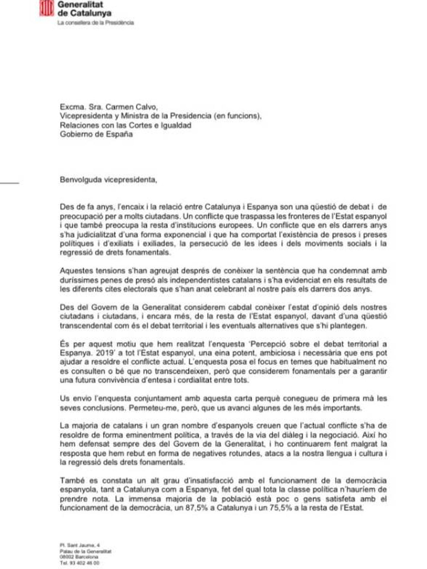 Pinche para leer la carta a Carmen Calvo.