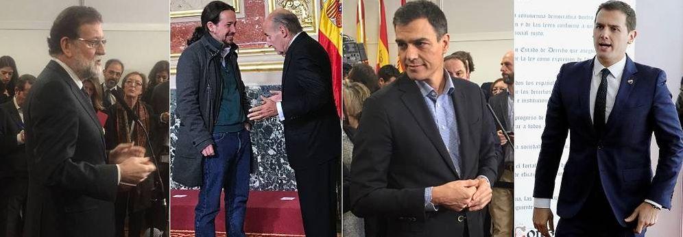 Foto: Montaje con imágenes de los líderes de los cuatro grandes partidos. (EC)