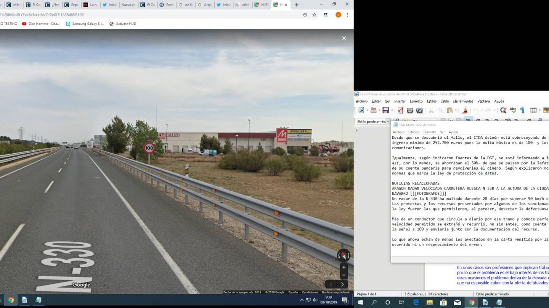 Mediana y señales de 100km/h pocos metros antes de llegar al radar. (Google Maps)