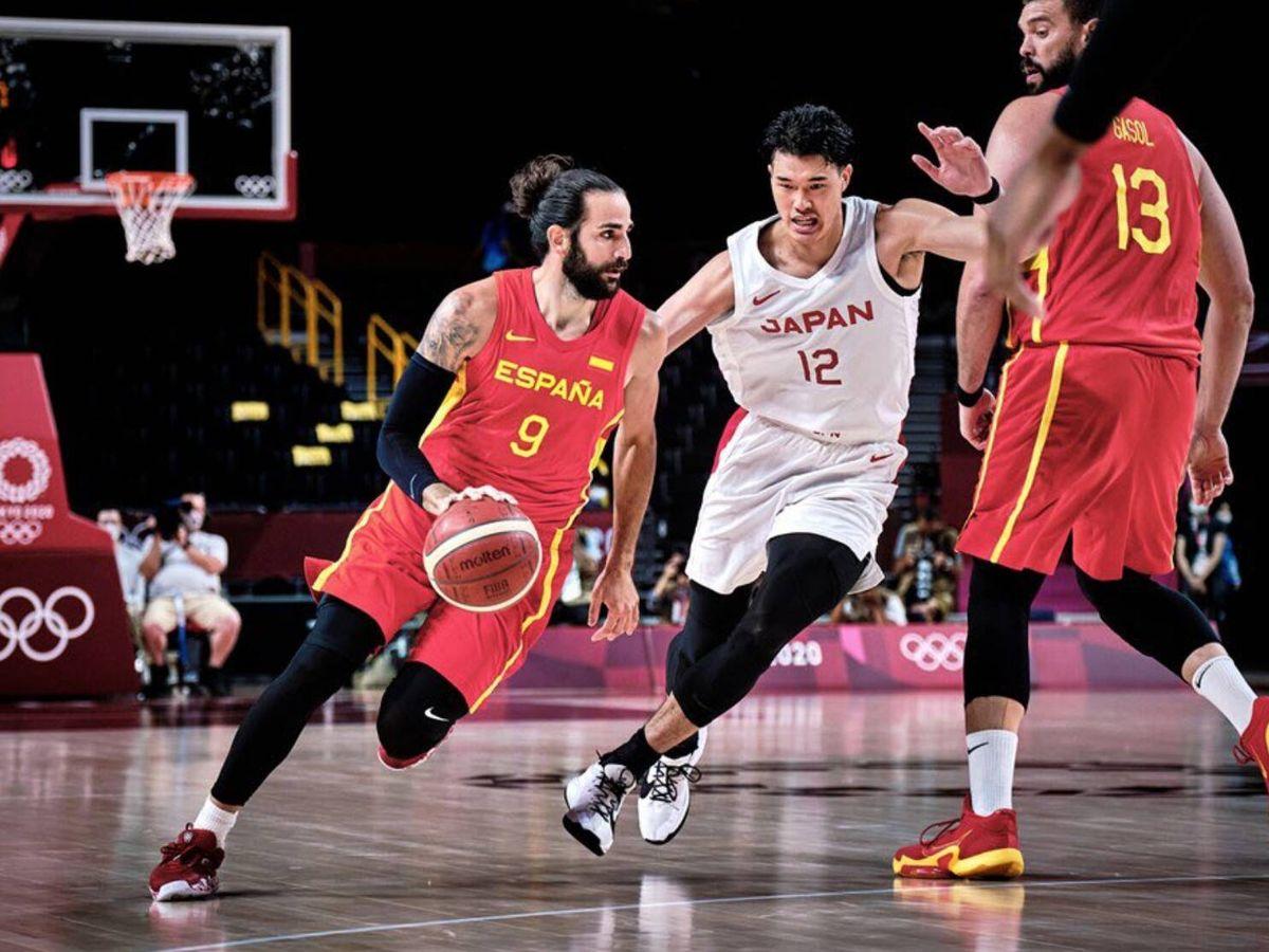 Foto: Ricky Rubio durante el partido contra Japón. (FIBA)