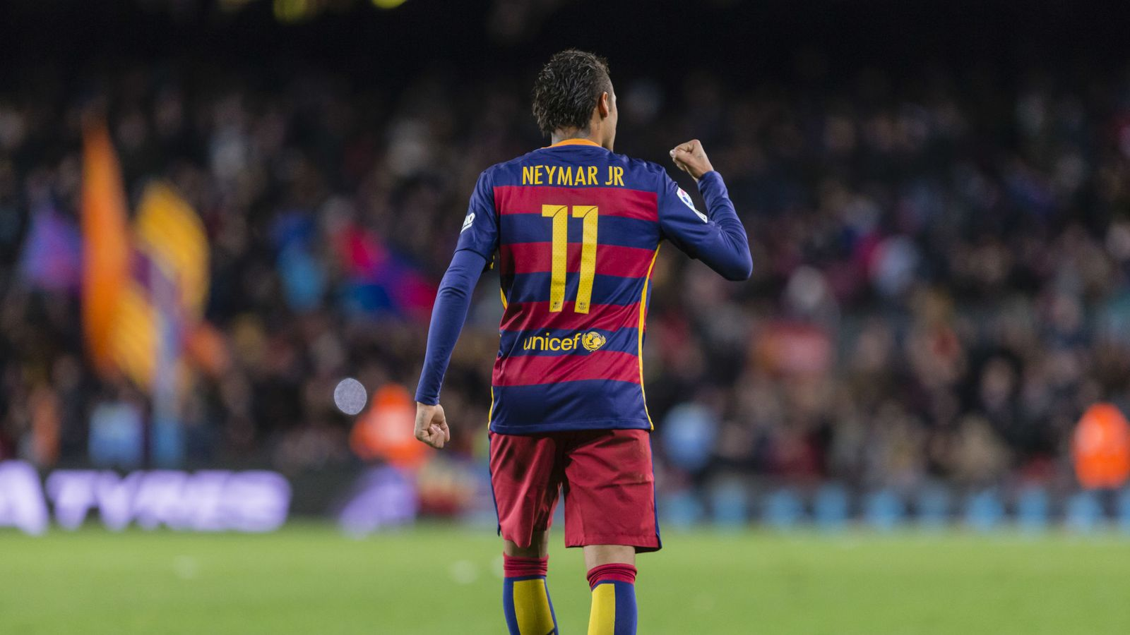 Foto: Neymar celebra un gol en el Camp Nou (Cordon Press).