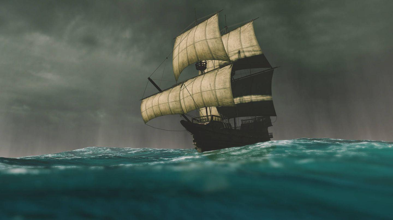 Carabela de Colón navegando en la tormenta (Fuente: iStock)