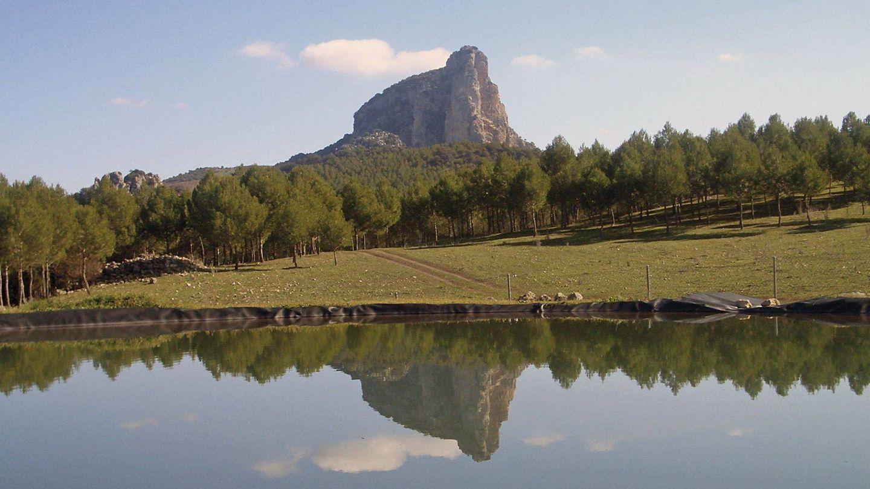 Y a lo lejos, el Peñón de Zaframagón. (Cortesía Fundación Vía Verde de la Sierra)