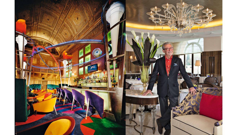 Foto: Adam Tihany en el restaurante Belmond del Hotel Cipriani de Venecia. A la izquierda, Le Cirque 2000, de Sirio Maccioni, en Nueva York. (Fotografía: Claudio Gallone)