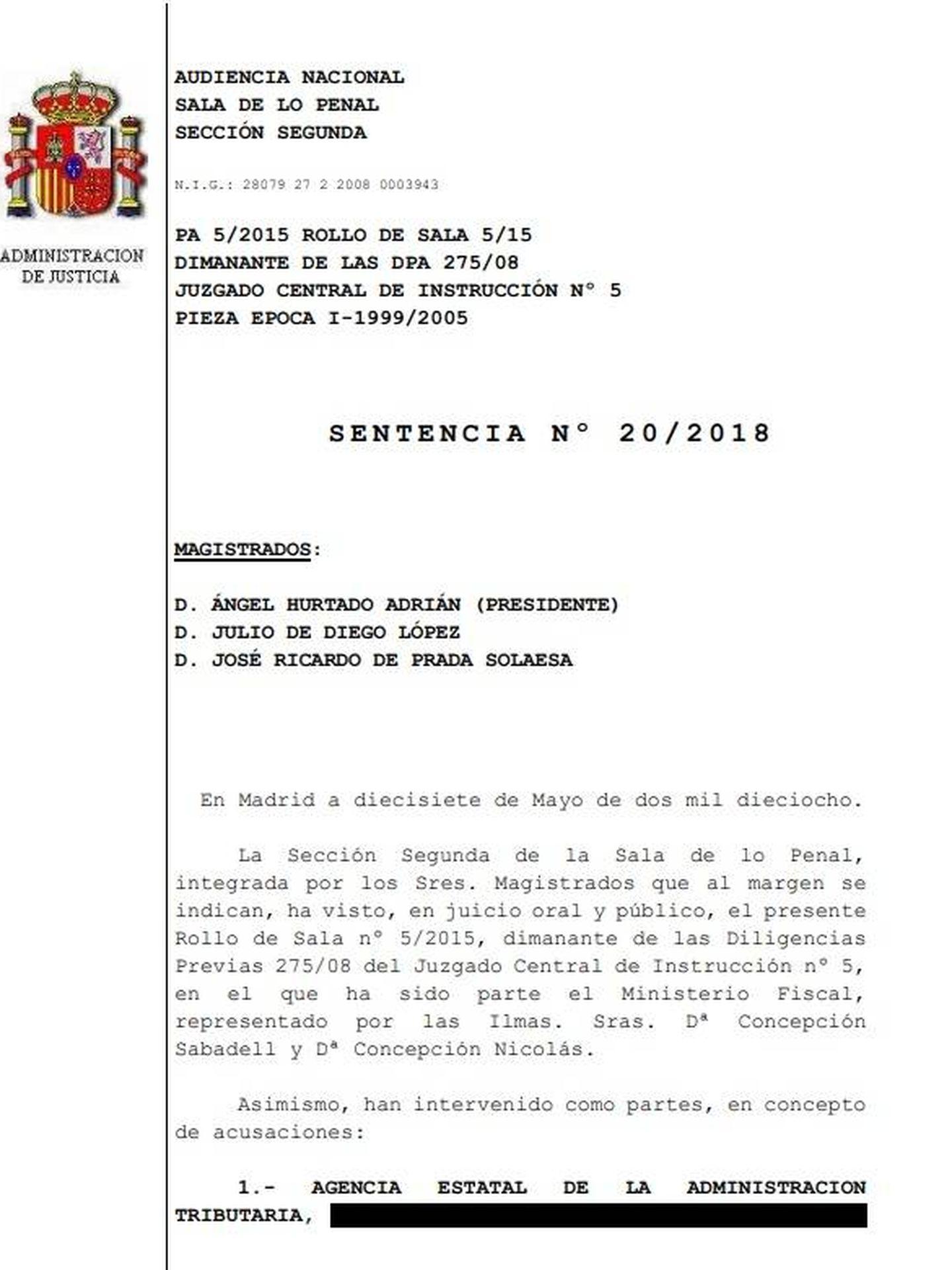 Consulta aquí en PDF la sentencia sobre el caso Gürtel.