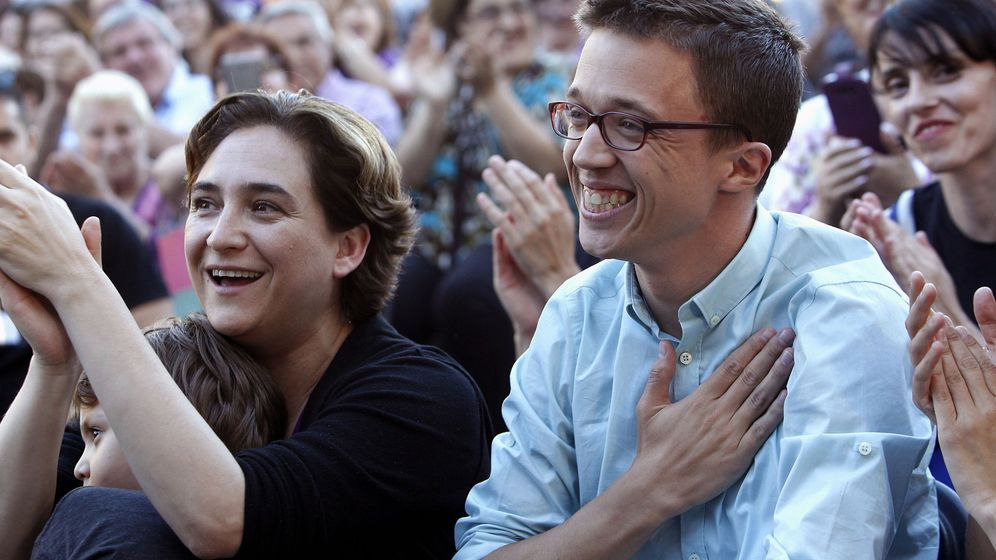 Foto: Ada Colau e Íñigo Errejón durante un mitin en Barcelona. (EFE)