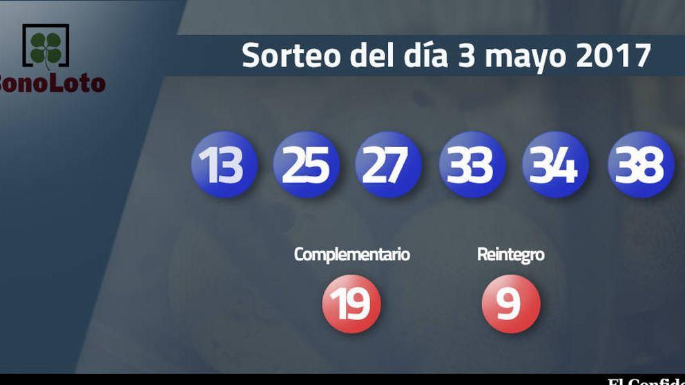 Resultados de la Bonoloto del 3 mayo 2017: números 13, 25, 27, 33, 34, 38