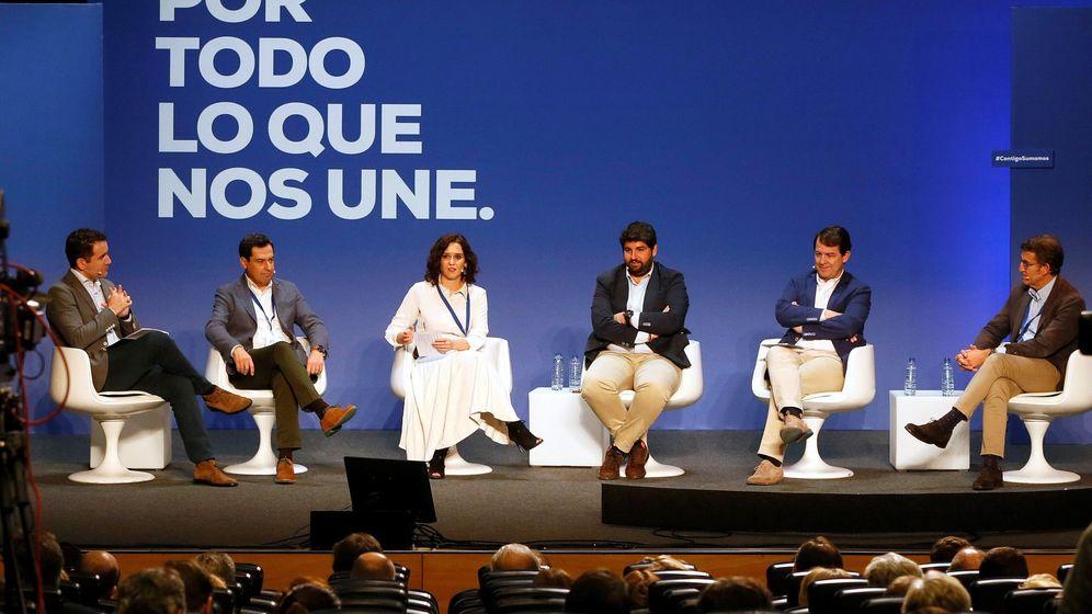 Foto: Los dirigentes del PP Teodoro García Egea, Juan Manuel Moreno, Isabel Díaz Ayuso, Fernando López Miras, Alfonso Fernández Mañueco y Alberto Núñez Feijóo. (EFE)