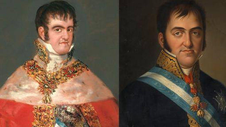 'Fernando VII con manto real' de Goya (1814-1815) y 'Fernando VII' de Luis de la Cruz y Ríos (1825).