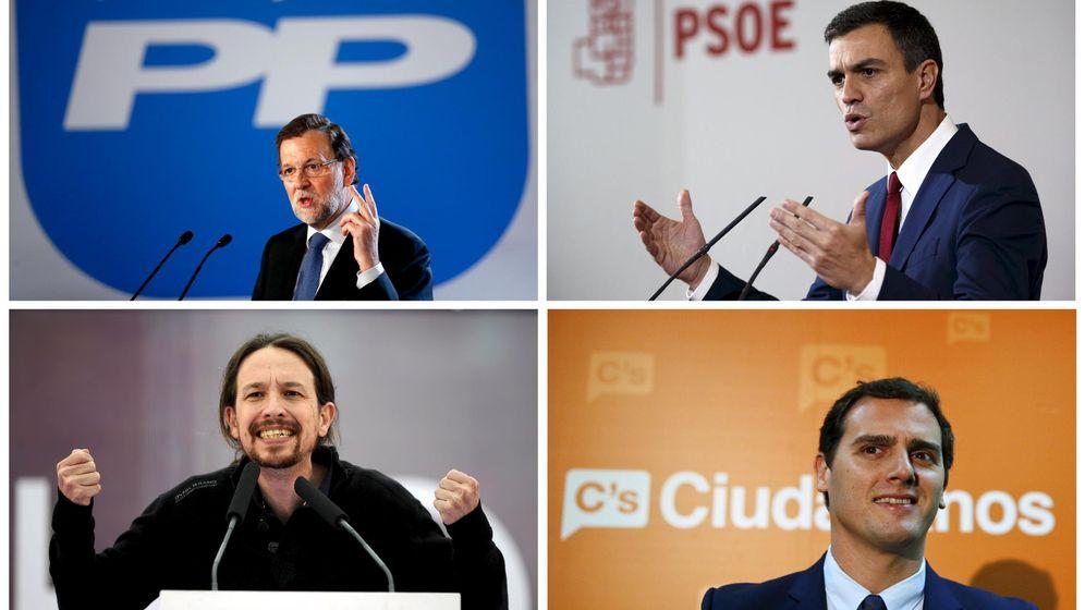 Foto: Rajoy (PP), Sánchez (PSOE), Iglesias (Podemos) y Rivera (Ciudadanos), principales candidatos a las elecciones del 20-D. (Reuters)