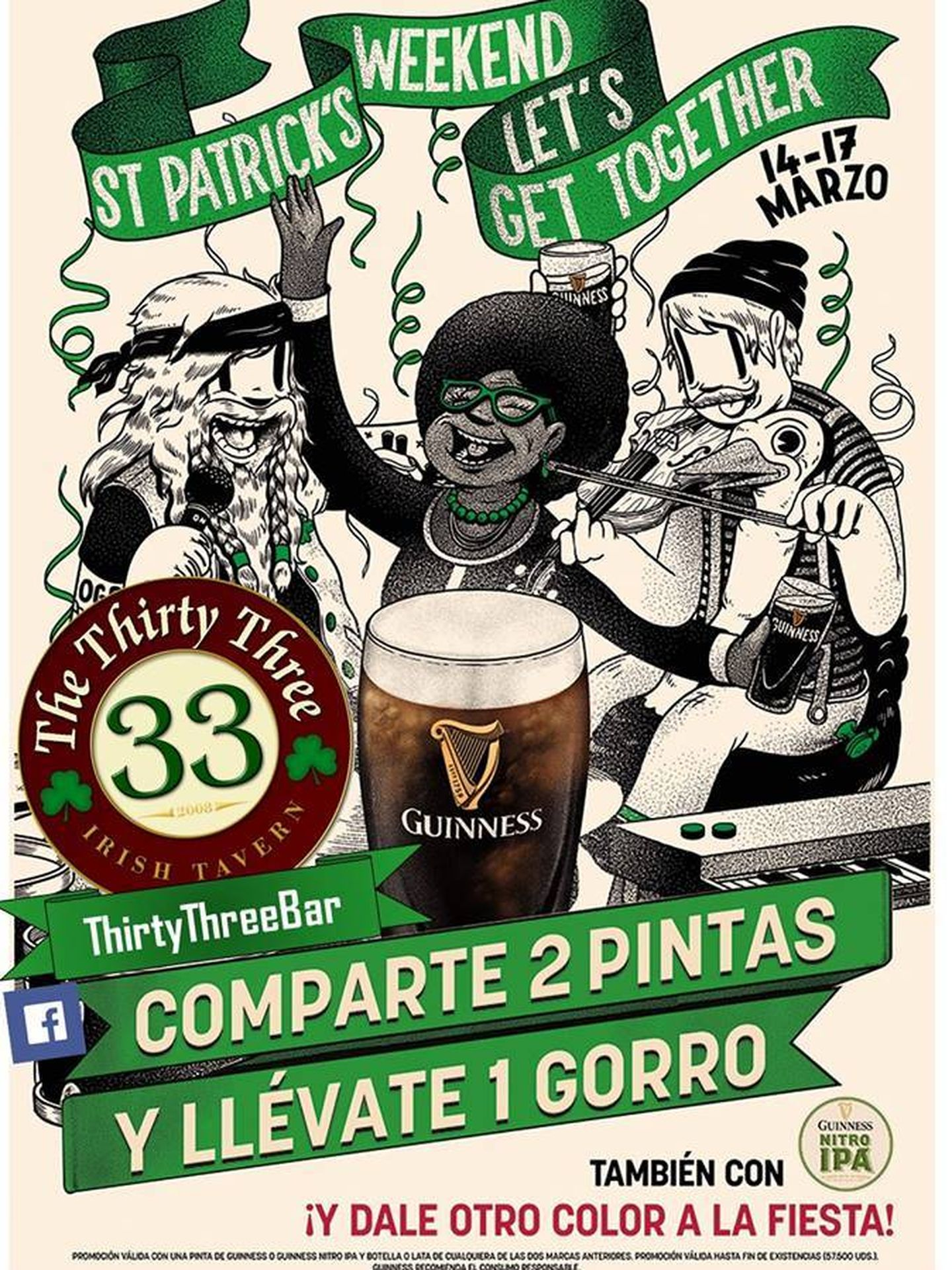 Cartel de San Patricio de The Thirty Three Bar.