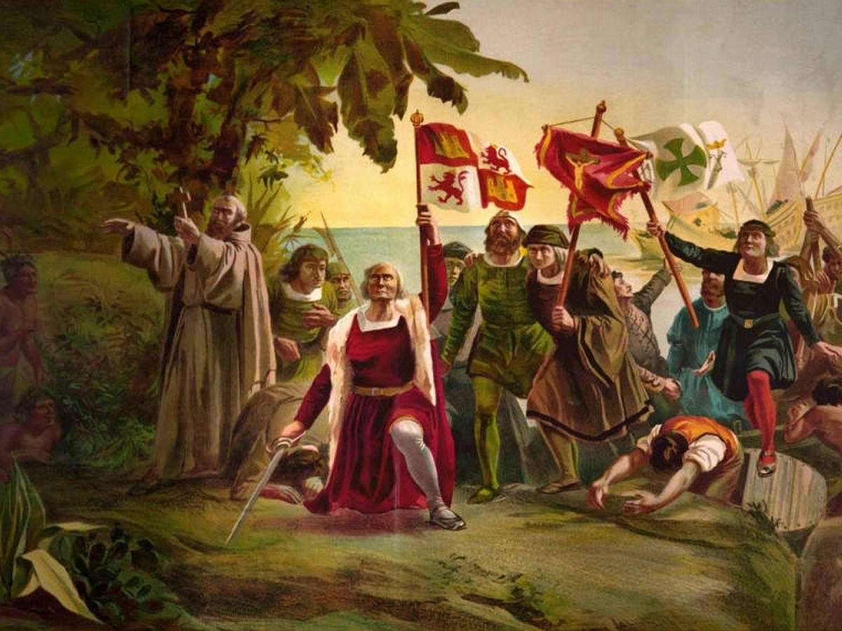 Foto: Alegoría de Cristóbal Colón y la conquista de América