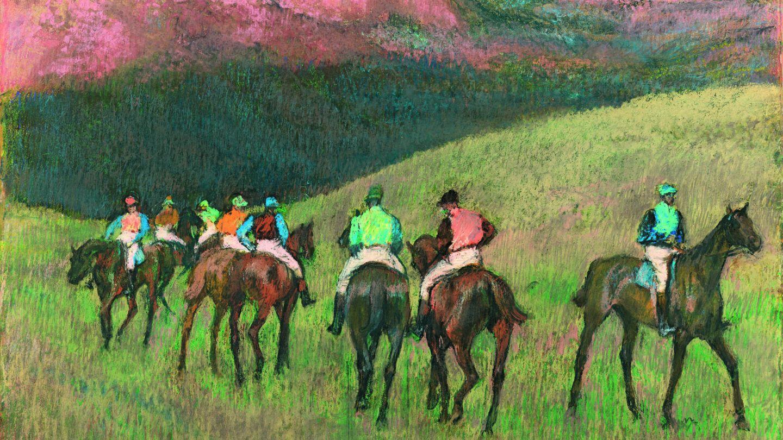 'Caballos de carreras en un paisaje'. (Edgar Degas, 1894)