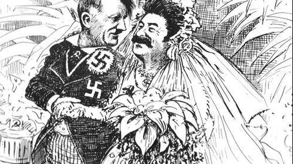 Foto: Una caricatura de la época en la que Hitler y Stalin contraen matrimonio. (Archivo)