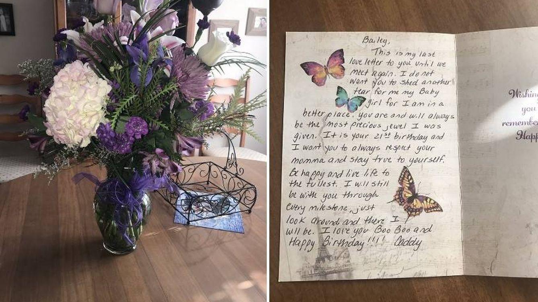 Esta chica recibe cada cumpleaños un ramo de flores y una carta de su padre fallecido