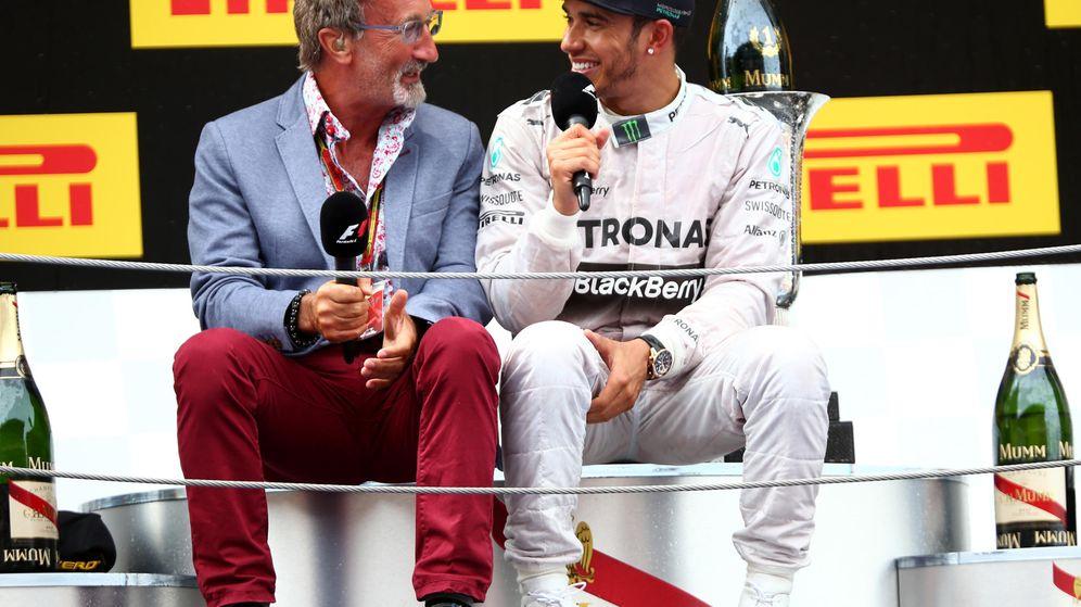 Foto: Eddie Jordan junto a Lewis Hamilton en el GP de España. (Getty)