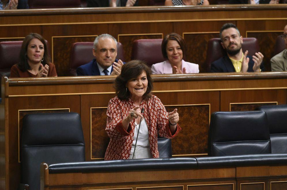 Foto: Carmen Calvo, durante la sesión de control en el Congreso de este 26 de septiembre. (EFE)