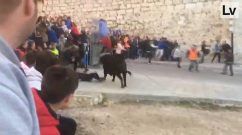 Un toro embiste a un hombre en los encierros de Onteniente