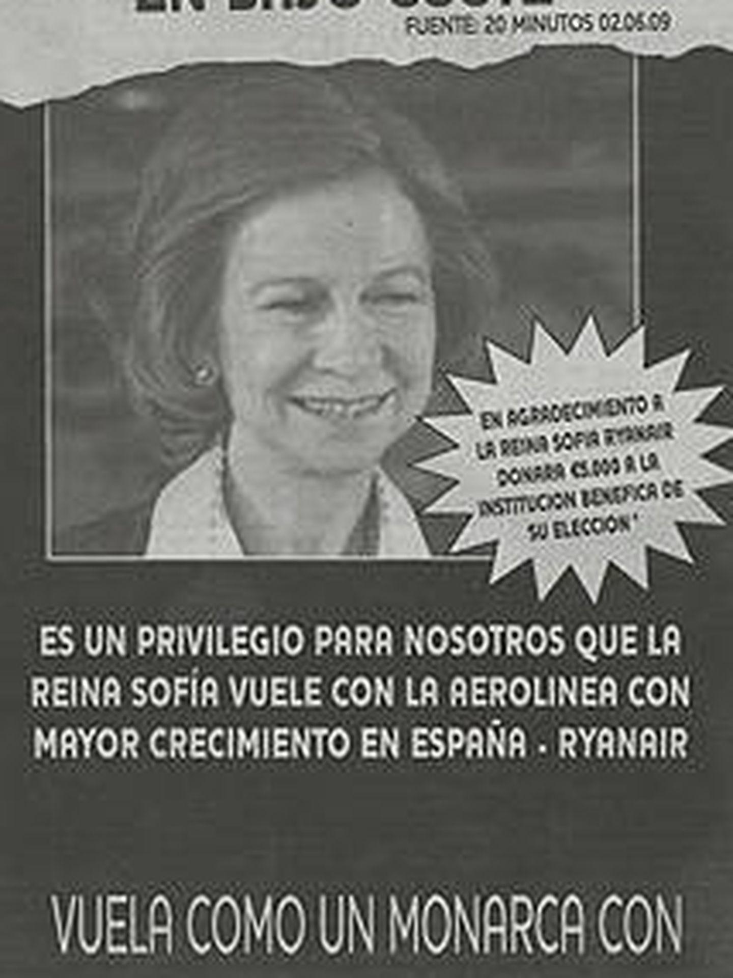 La imagen de la reina Sofía usada con fines publicitarios.