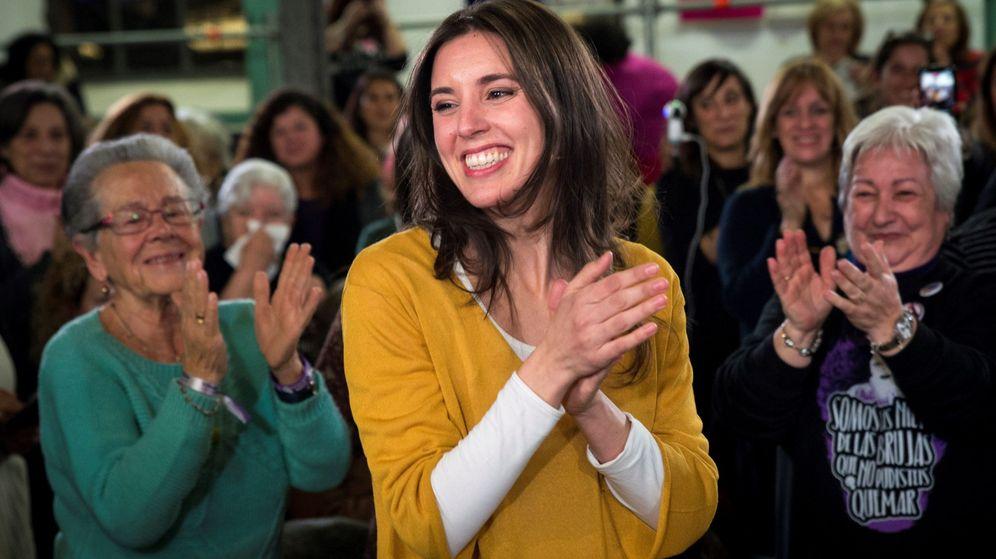 Foto: La portavoz de Podemos en el Congreso, Irene Montero, reaparece en la primera línea política con un acto con mujeres del partido. (EFE)