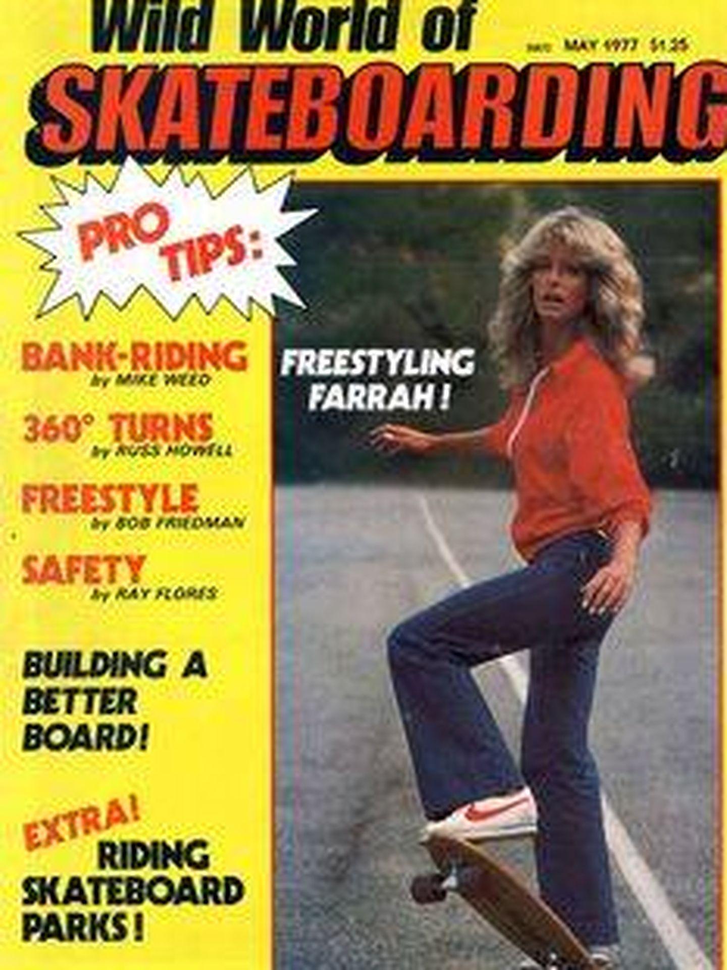 Farrah Fawcettt, en la portada 'Skateboarding'.