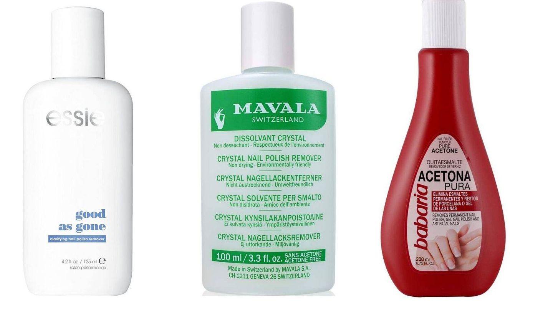 Distintos tipos de quitaesmaltes: son acetona, tradicional y acetona pura.