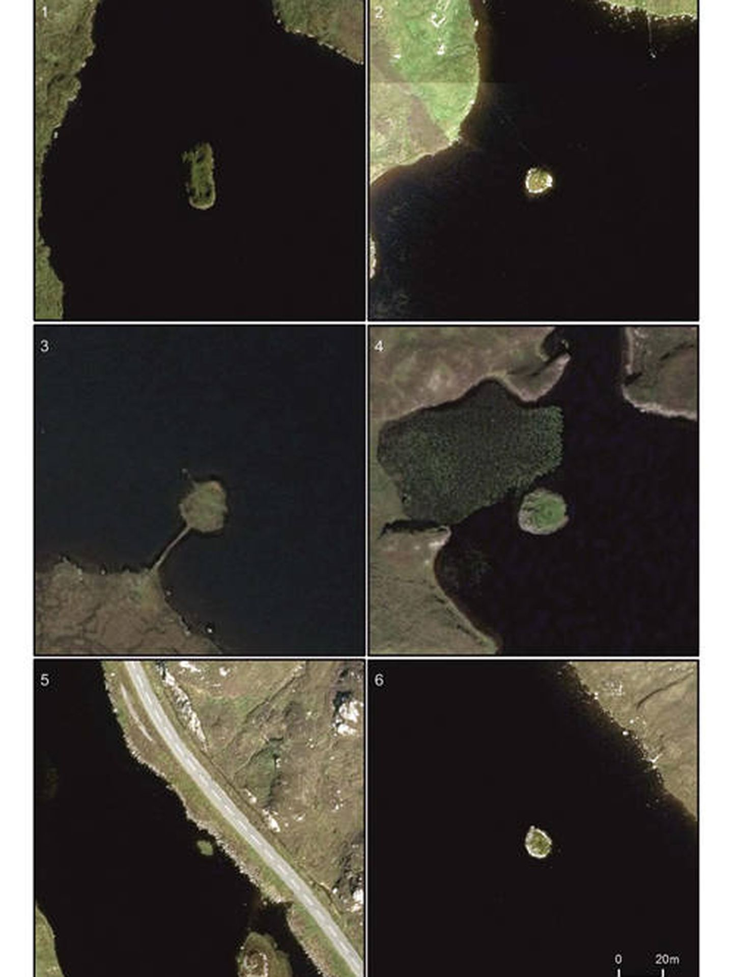 Diversos crannogs repartidos por lugares de Escocia, Gales e Irlanda (Foto: Antiquity)