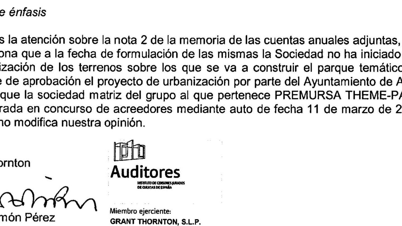 La advertencia del auditor Grant Thornton en las cuentas de 2014.