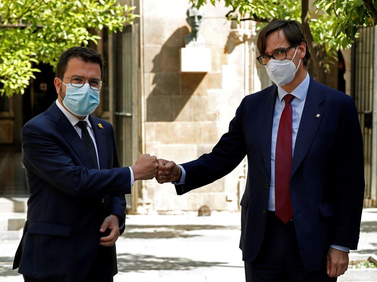 Foto: Aragonès recibe a Salvador Illa. (EFE)