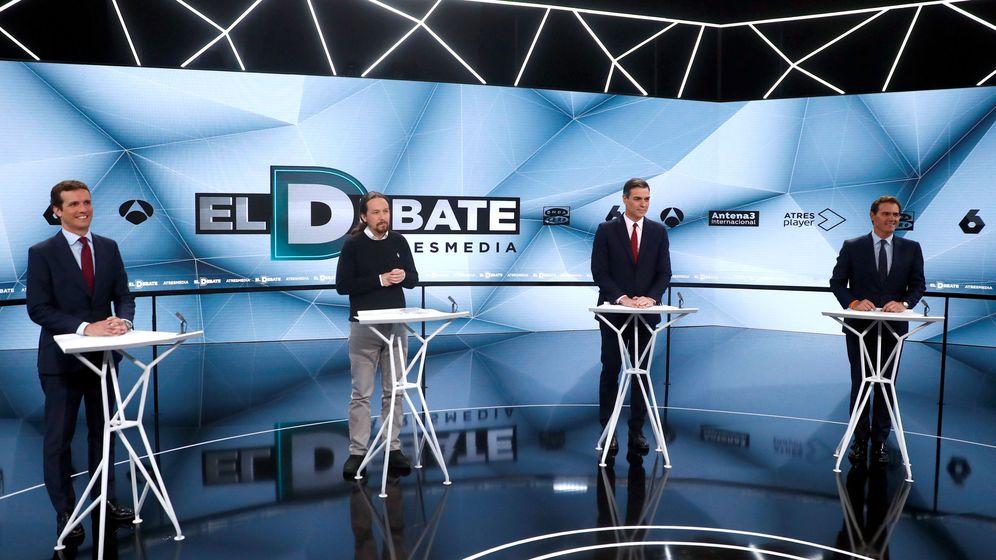 Foto: Pablo Casado, Pablo Iglesias, Pedro Sánchez y Albert Rivera, el pasado 23 de abril en Atresmedia. (Reuters)
