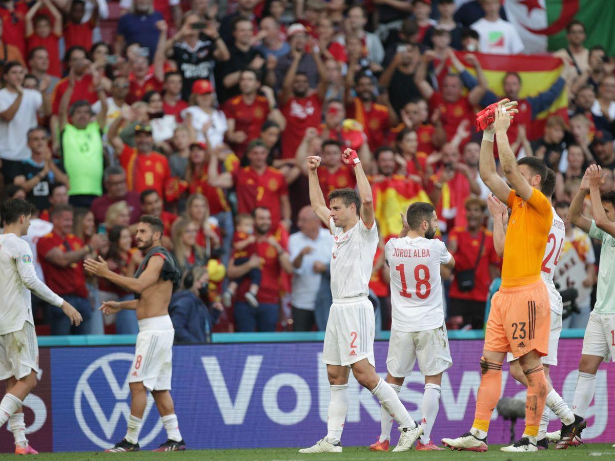 Foto: España celebra el pase a cuartos. (EFE)